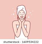 beautiful woman's skin care....   Shutterstock .eps vector #1609534222