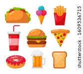 fast food icons set cartoon... | Shutterstock .eps vector #1609536715