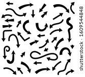 set of black arrows.... | Shutterstock . vector #1609544848
