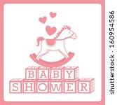 baby shower design over white...   Shutterstock .eps vector #160954586