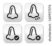 Nose smell vector buttons icons set