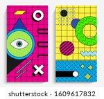 memphis design elements. retro...   Shutterstock .eps vector #1609617832