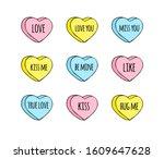 vector hand drawn doodle set of ... | Shutterstock .eps vector #1609647628