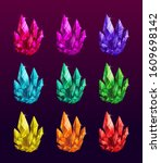 beautiful colorful crystals set.... | Shutterstock .eps vector #1609698142