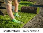 Professional Landscaper Lay Natural Grass Turfs. Natural Grass Installation. Gardening Industry Theme. - stock photo