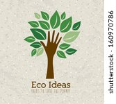 eco ideas over pattern... | Shutterstock .eps vector #160970786