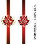 red bow with gold and silver... | Shutterstock .eps vector #160971878