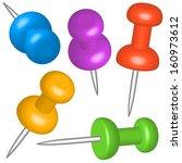 thumbtacks set for various...   Shutterstock .eps vector #160973612