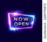 now open sign on dark blue... | Shutterstock . vector #1609793872