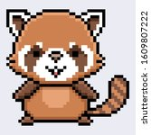 Lesser panda pixel cartton design