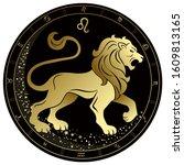 Leo Zodiac Sign. Golden Circle...