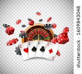 casino roulette wheel with... | Shutterstock .eps vector #1609843048
