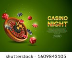casino roulette wheel with... | Shutterstock .eps vector #1609843105