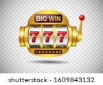 Big win slots machine 777 casino on isolated transparent background. Vector illustration - stock vector