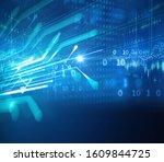 blue geometric abstract... | Shutterstock . vector #1609844725