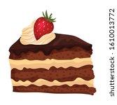 sweet chocolate cake slice ... | Shutterstock .eps vector #1610013772