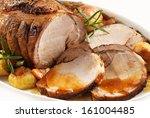 roasted pork on white plate | Shutterstock . vector #161004485
