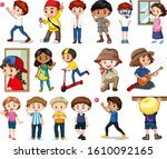 large set of boys and girls... | Shutterstock .eps vector #1610092165