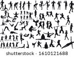 a large set of silhouettes from ...   Shutterstock . vector #1610121688