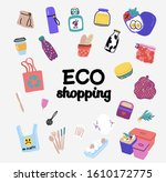 the collection of zero waste ... | Shutterstock .eps vector #1610172775
