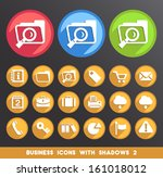 business icons with shadows 2. | Shutterstock .eps vector #161018012