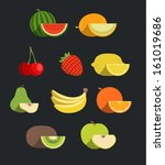 vector fruit icon set   Shutterstock .eps vector #161019686