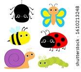 insect set. ladybug ladybird ... | Shutterstock .eps vector #1610213248