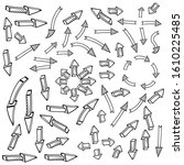 a set of hand drawn arrows in... | Shutterstock .eps vector #1610225485