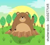 cute groundhog illustration ...   Shutterstock .eps vector #1610277145