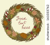 christmas wreath in vector with ... | Shutterstock .eps vector #161033762