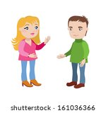 young blonde woman and a man... | Shutterstock .eps vector #161036366