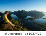 man hiking in norway | Shutterstock . vector #161037422