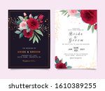 set of card with flowers.... | Shutterstock .eps vector #1610389255