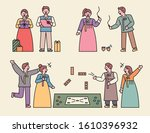 characters wearing traditional... | Shutterstock .eps vector #1610396932