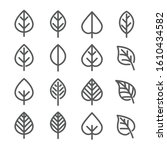 leaf line icon set   outline 01 | Shutterstock .eps vector #1610434582