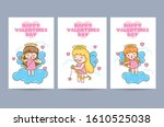 valentines day cards with cute... | Shutterstock .eps vector #1610525038