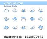 set of cloud vector line icon.... | Shutterstock .eps vector #1610570692