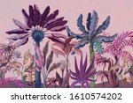 border with jungle trees  palm  ... | Shutterstock .eps vector #1610574202