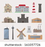 collection of various buildings.... | Shutterstock .eps vector #161057726
