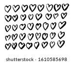 black heart shape grunge brush... | Shutterstock .eps vector #1610585698