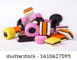 heap of colorful liquorice... | Shutterstock . vector #1610627095