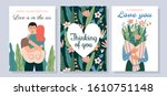 set of cute romantic postcards. ... | Shutterstock .eps vector #1610751148