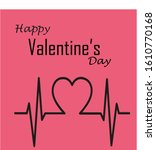valentines day heartbeat card...   Shutterstock . vector #1610770168