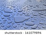 Water Drops Wetting A Blue And...