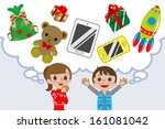 children wishing gift | Shutterstock .eps vector #161081042