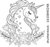 cute unicorn with flowers.... | Shutterstock .eps vector #1610840248