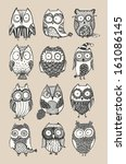 Stock vector cute owls set 161086145