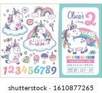kids birthday party invitation... | Shutterstock .eps vector #1610877265