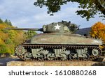 American M4A1(76)W Sherman Tank used in The Battle of The Bulge in WWII in the village of La Roche-en-Ardenne, Belgian Ardennes, Belgium