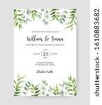 beautiful floral wedding... | Shutterstock .eps vector #1610883682